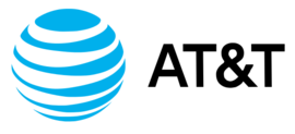 The AT&T internet logo featuring a globe with blue and white stripes