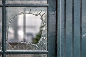 broken window in door