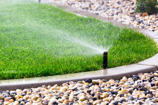 automatic sprinklers watering lawn