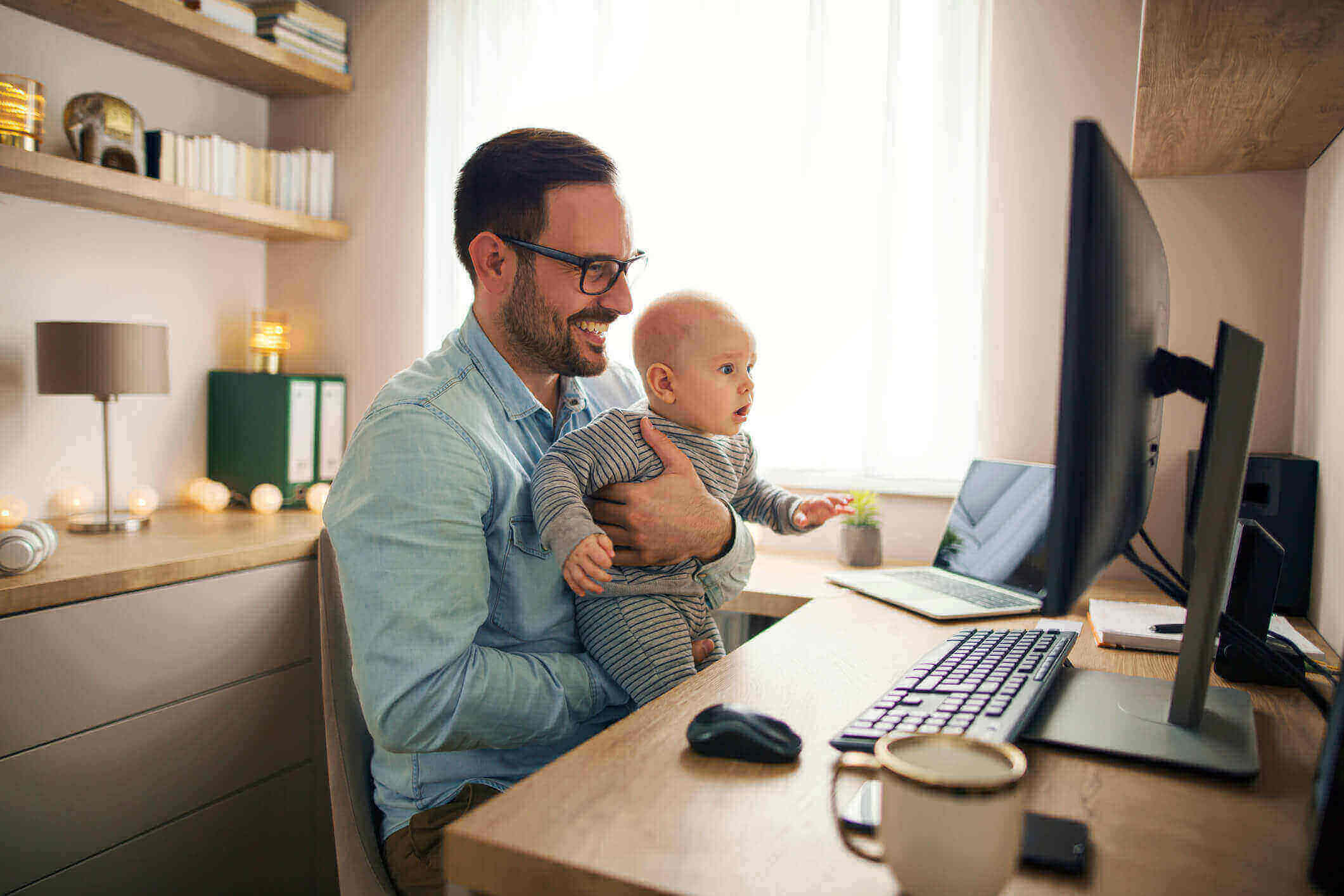 Man using home office