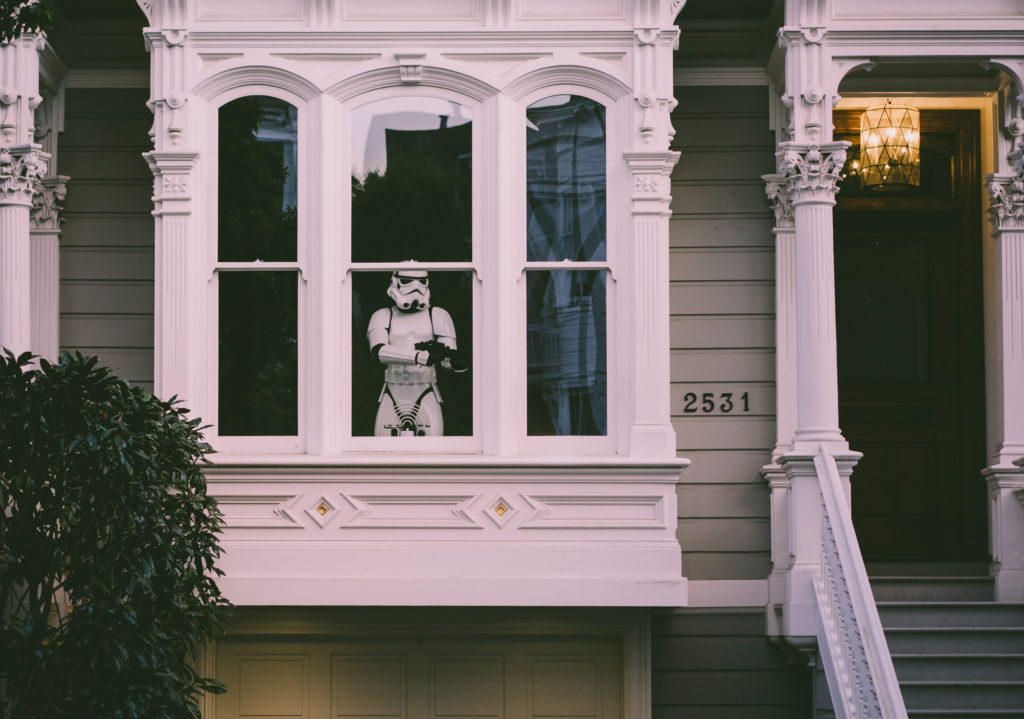 Stormtrooper protecting home