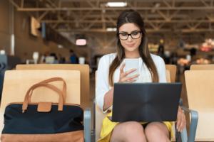Woman Working Via Hotspot