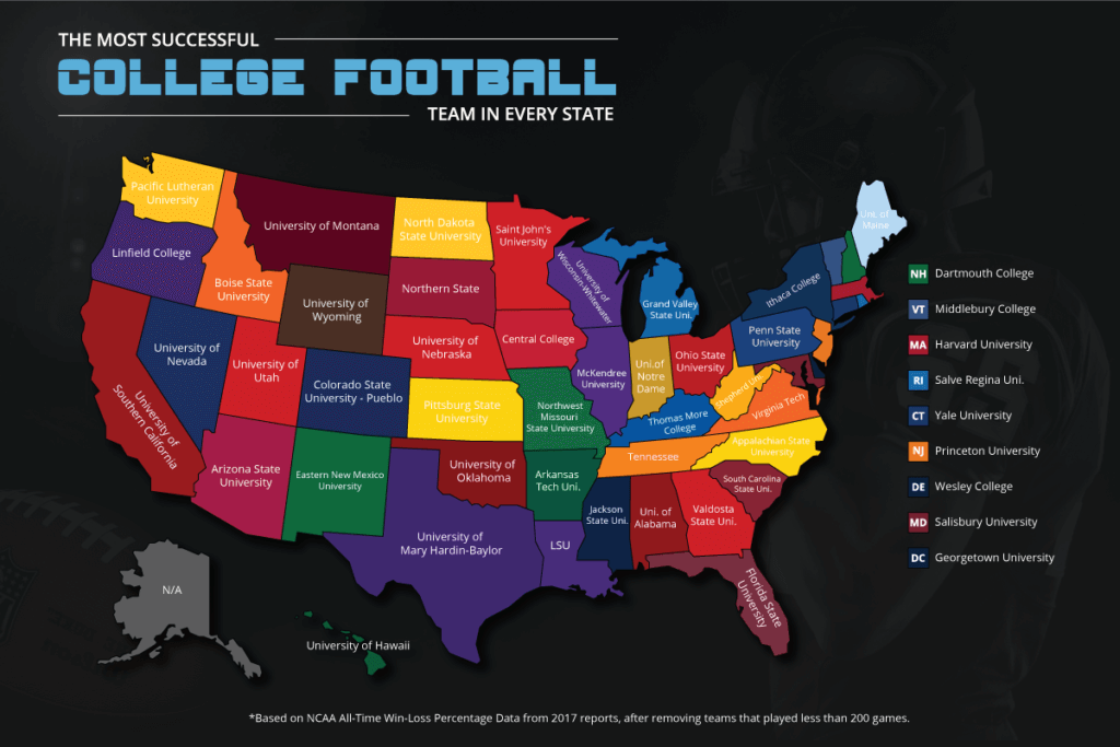 Map of most successful college football team in every state