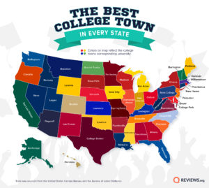 Best College Towns Map