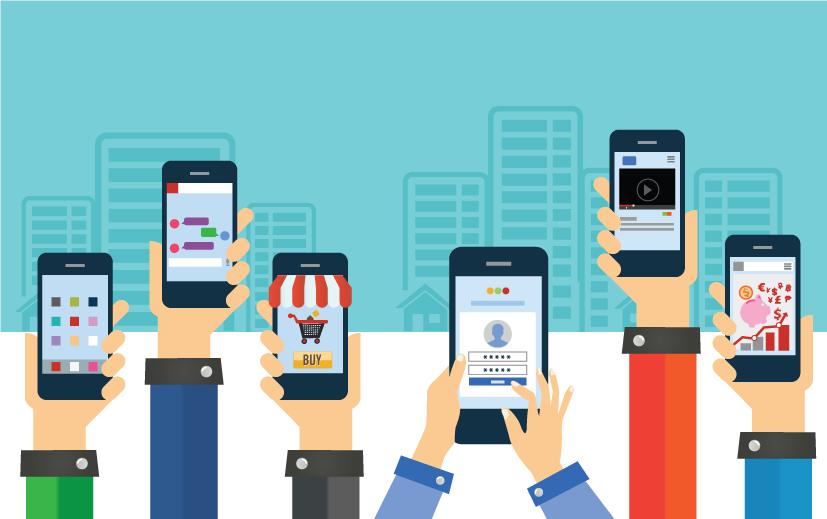 illustration of hands holding phones