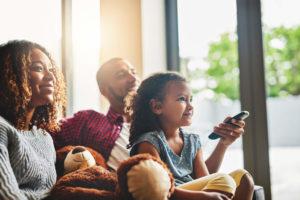 Family watching cox tv