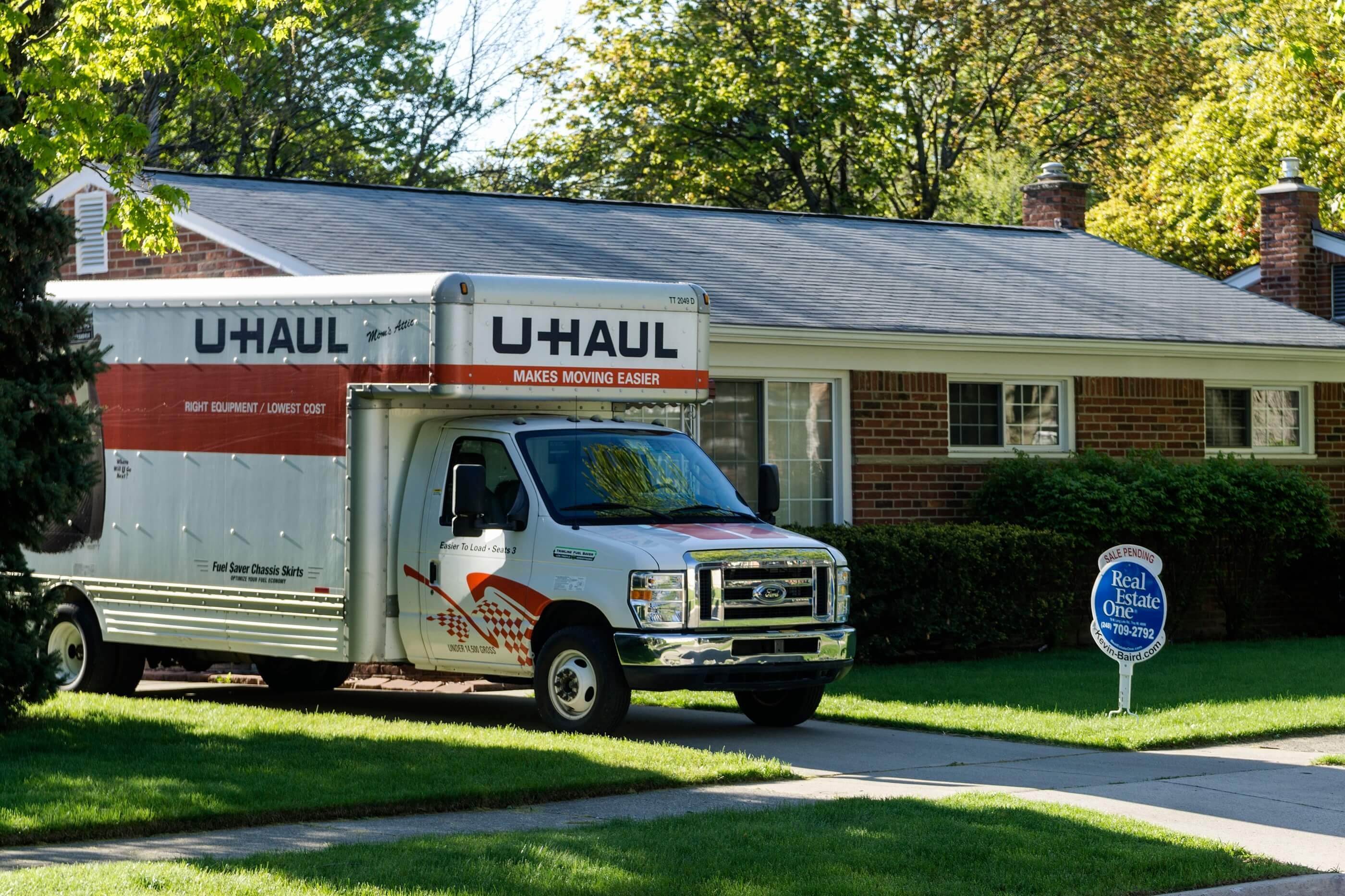 U-Haul truck in front of a house