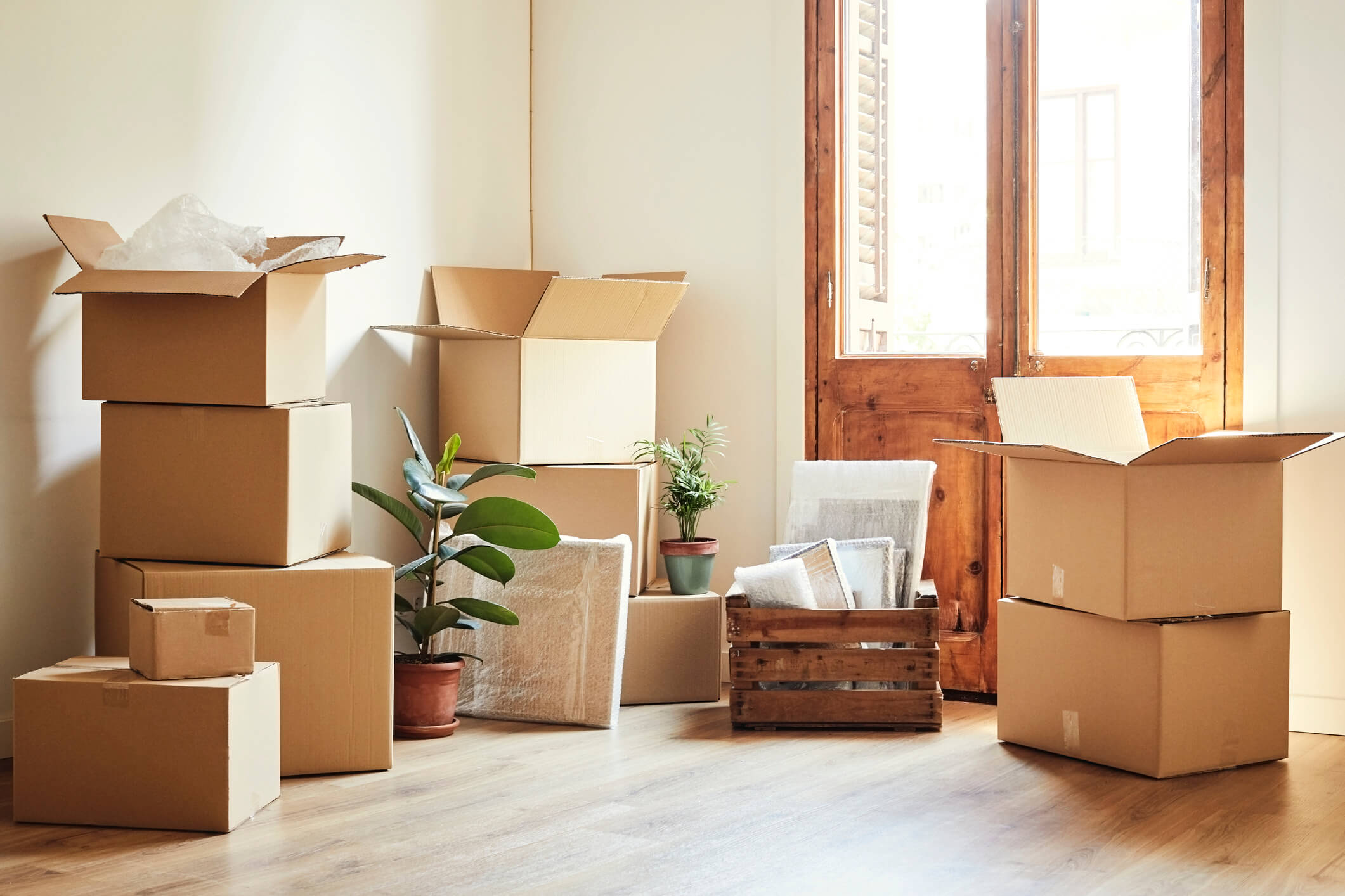 Moving boxes inside a home