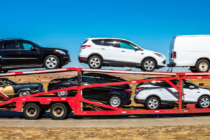 Car carrier transporting cars