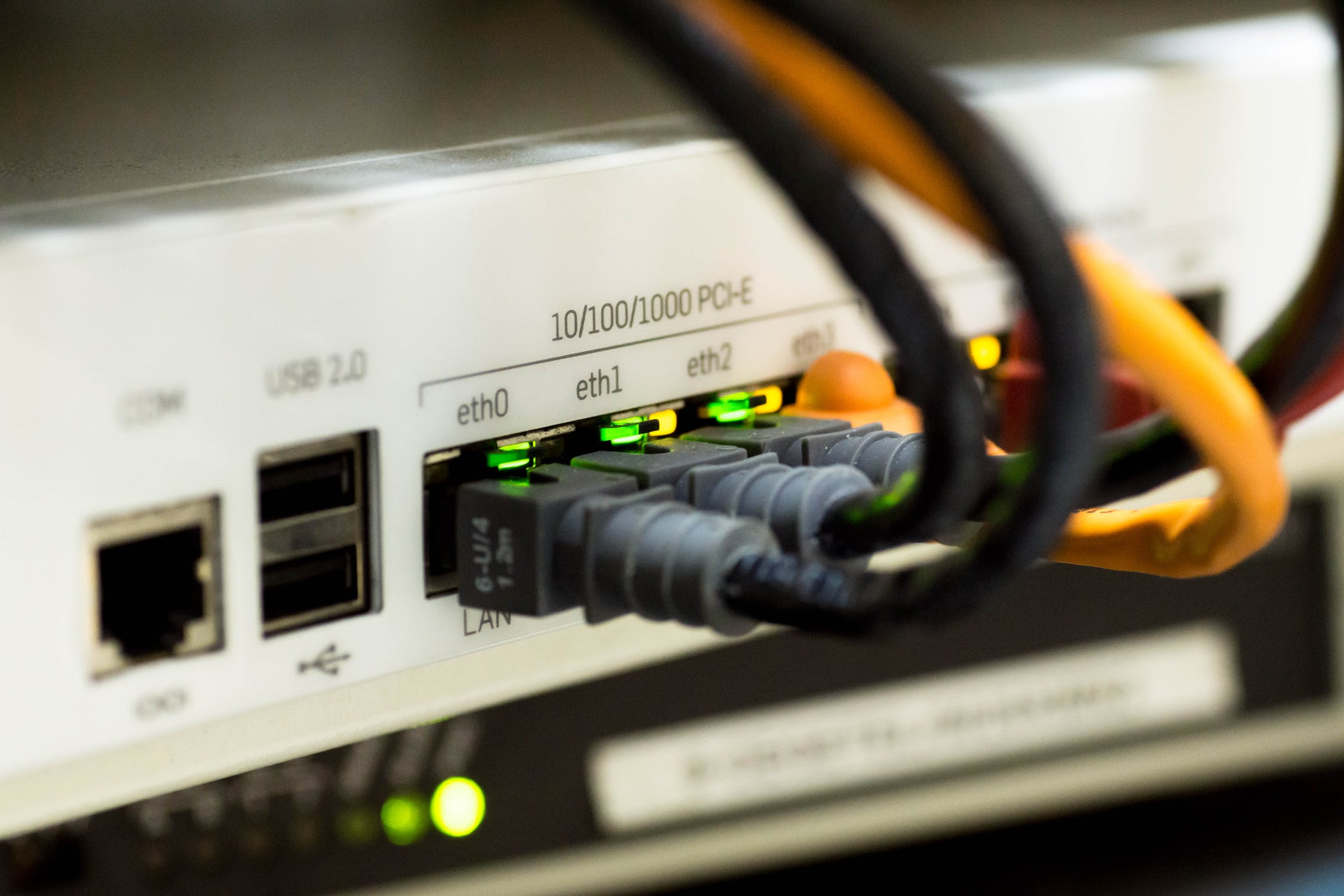 Network cables plugged in for broadband internet