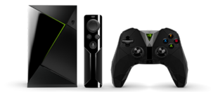 NVIDIA Shield Gaming Edition box, remote, and controller