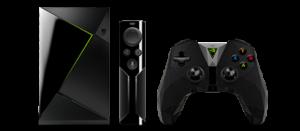 NVIDIA Shield Gaming Edition box, remote, and controller