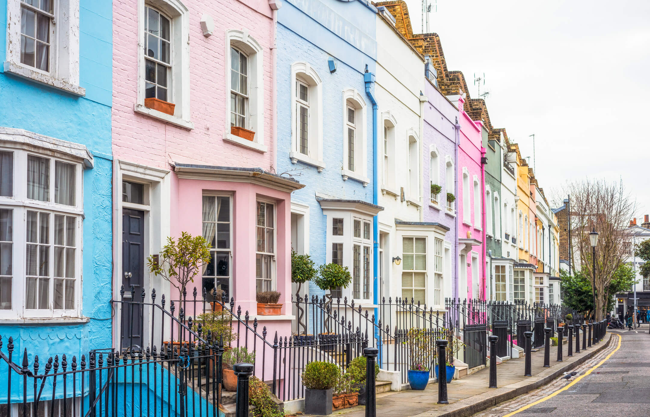 Multi-coloured street of houses in Chelsea,London