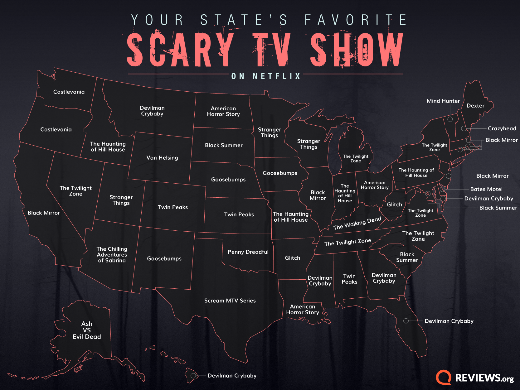 Map showing every state's favorite scary tv show on Netflix.