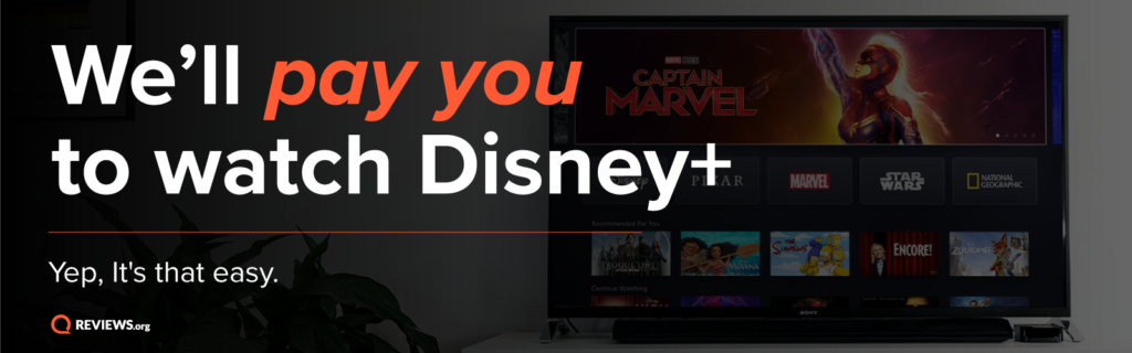Banner explaining we'll pay you to watch Disney Plus