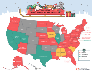 Map of each state's favorite holiday toy 2019