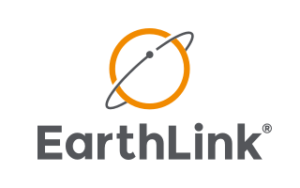 A logo for EarthLink Internet with an orange globe and black ring around it