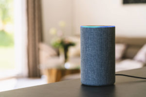 Amazon Alexa on a table in a living room