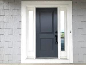 dark gray front door on light gray house