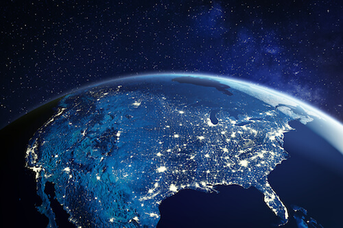 A view of North America from outer space at night