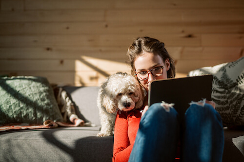 A woman sits with her dog and uses a tablet