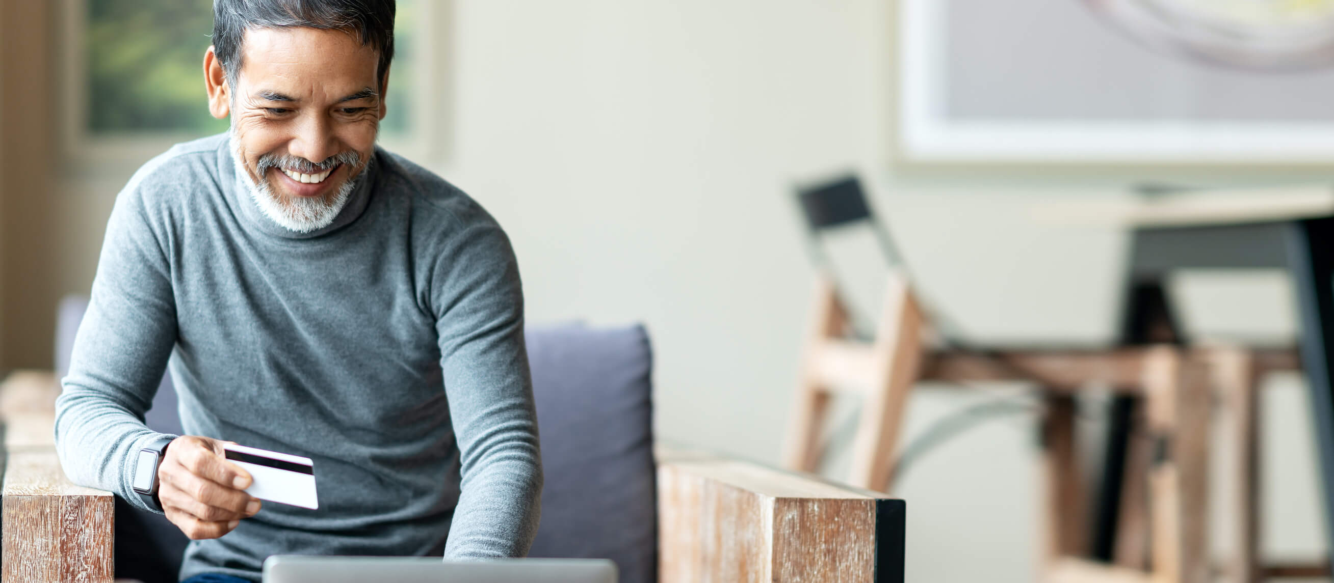 Man using VPN for secure purchase