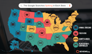 Map showing Google search trends in each of the 50 states.