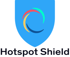 The Hotspot Shield VPN logo of a blue shield with a multi-color circle in the center