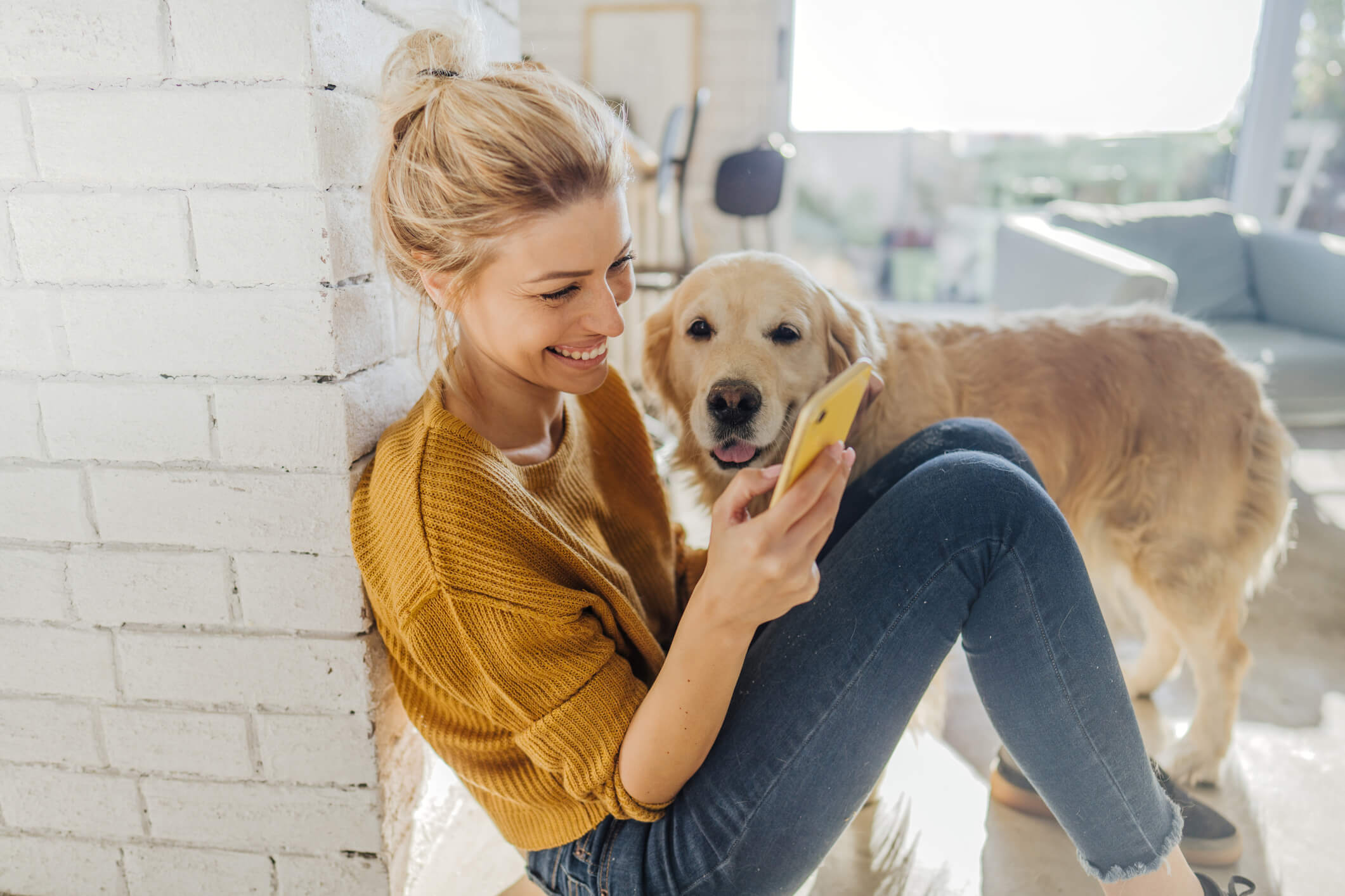 A woman is sitting on the ground with her Labrador while looking at her smartphone.