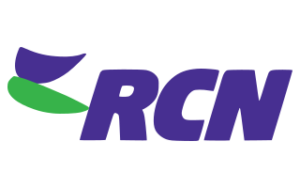 The logo for RCN internet, with the letters RCN in purple and a purple and green leaf shape to the left of the letters