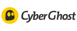 A logo with a black ghost on a yellow circle background with CyberGhost to the right