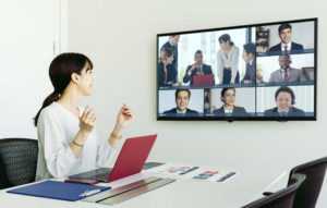 Woman using video conference software (1)