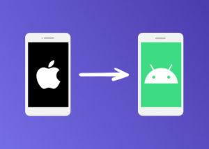 Image showing Apple phone with arrow towards Android phone