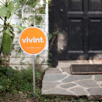 Vivint yard sign displayed in front of a house