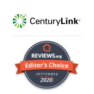 A Reviews.org awards badge naming CenturyLink as the Editor's Choice for September 2020