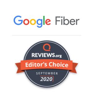 A Reviews.org awards badge naming Google Fiber as the Editor's Choice for September 2020