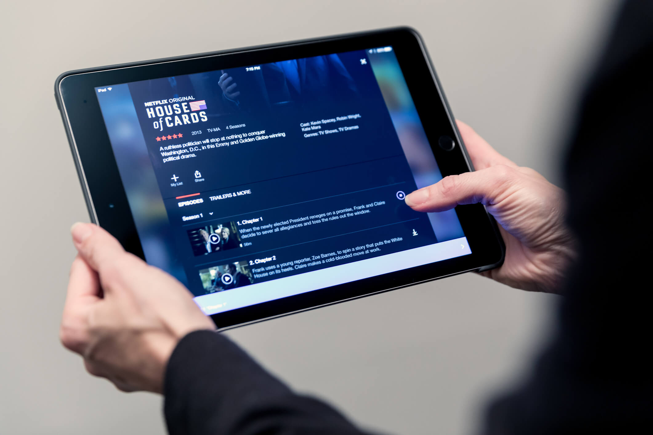 Netflix on a handheld tablet