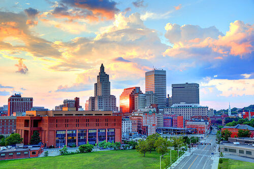 Downtown Providence, Rhode Island at sunrise