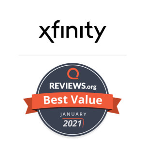 Reviews.org Best Value award badge for Xfinity internet