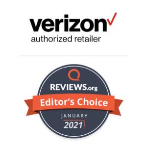 Reviews.org Editor's Choice award badge for Verizon Fios internet