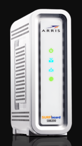 The white Arris Surfboard SB8200 modem is compatible with Xfinity