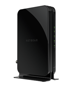 The black Netgear CM500 modem for Xfinity internet