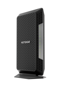 The black and silver Netgear Nighthawk CM1150V modem for Xfinity internet