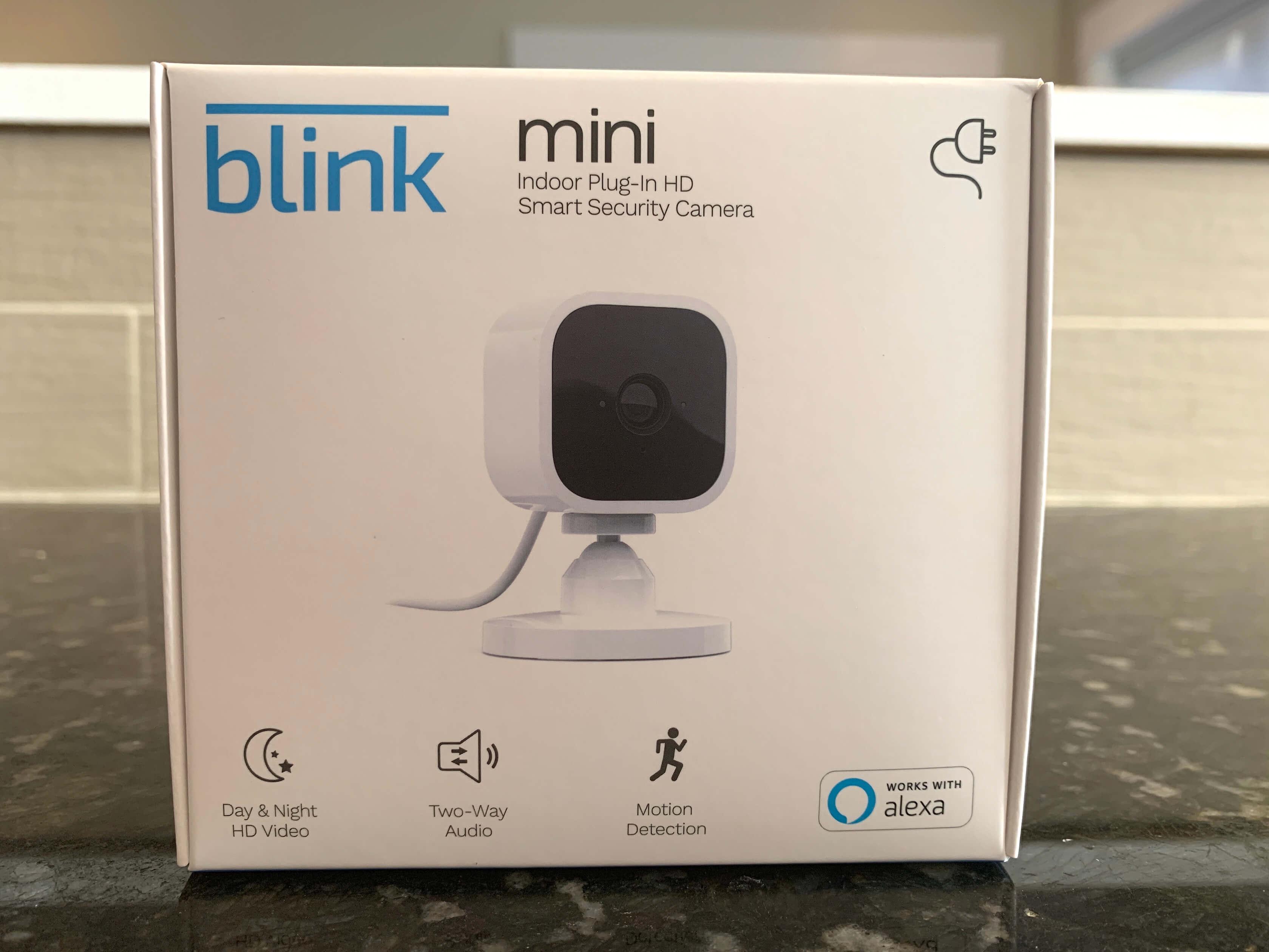 Blink Mini box on a countertop