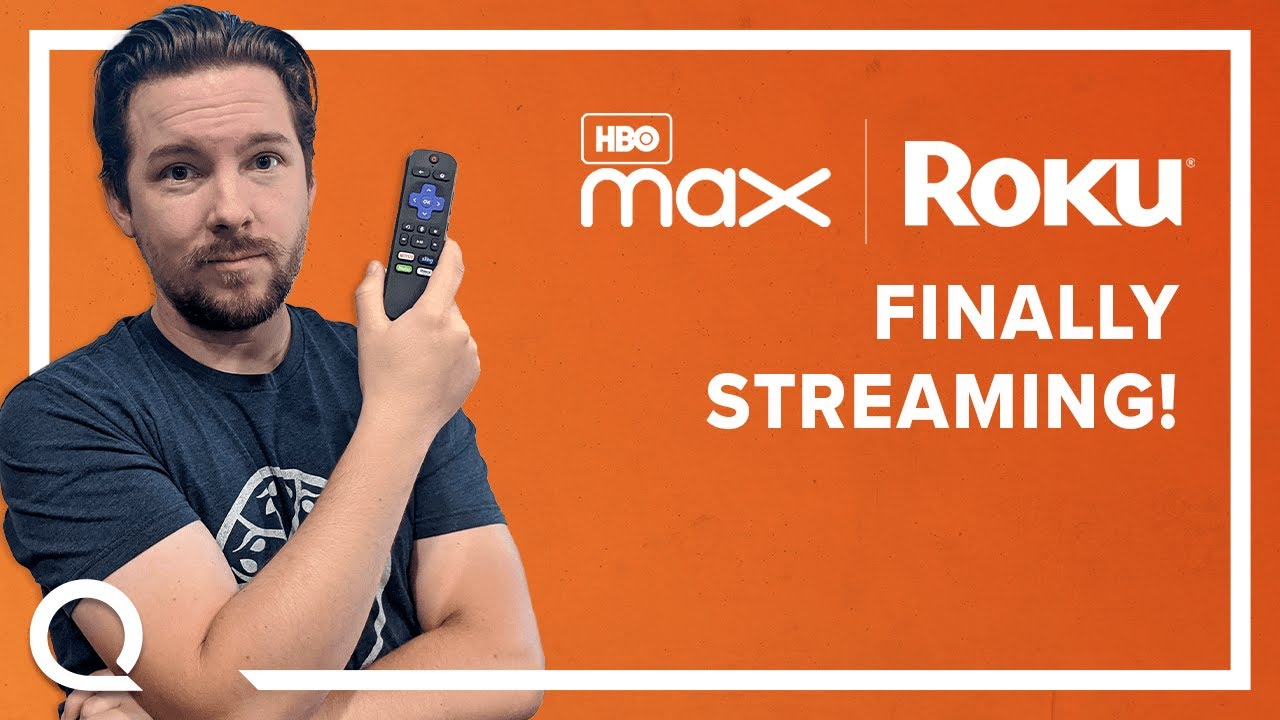 """A man holding a Roku remoted next to text """"HBO Max   Roku Finally Streaming!"""""""