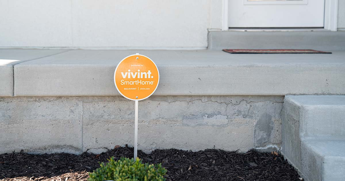 Vivint sign in front of porch