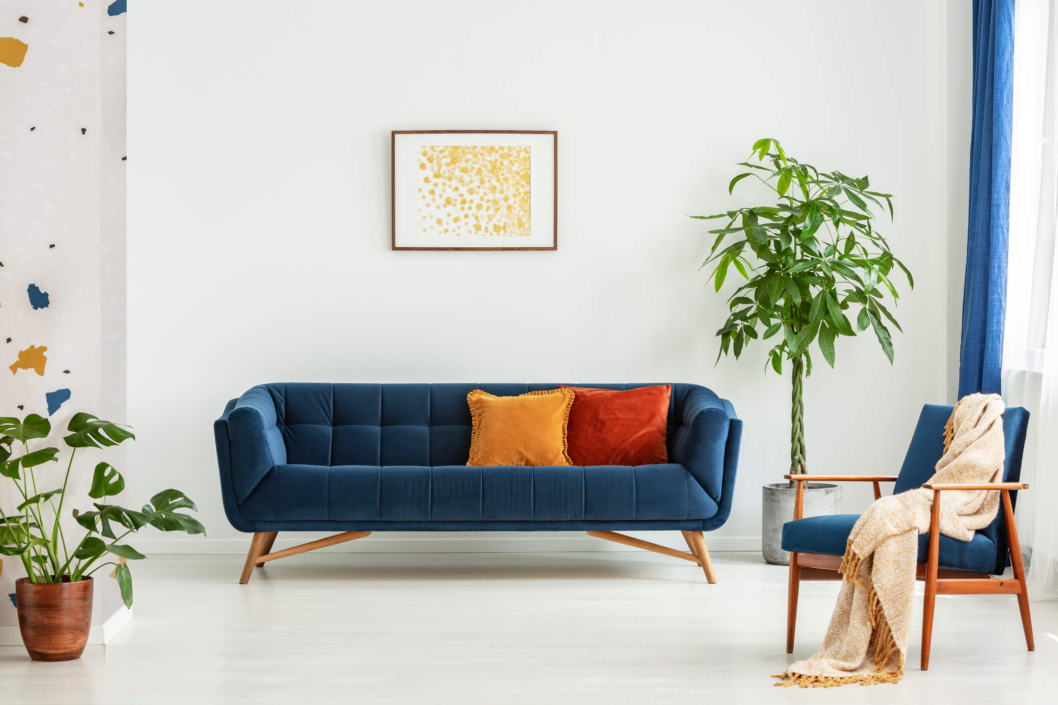 Blue and orange living room in a home
