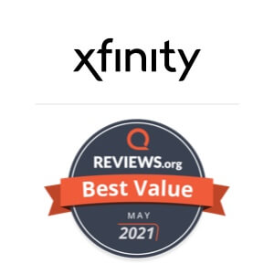 A Reviews.org award badge for Xfinity as Best Value in May 2021