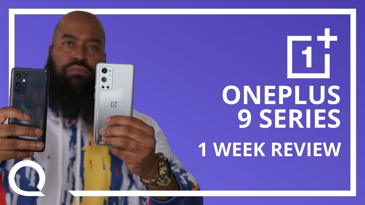 """A man is holding up two smartphones next to text """"OnePlus 9 Series 1 Week Review"""""""