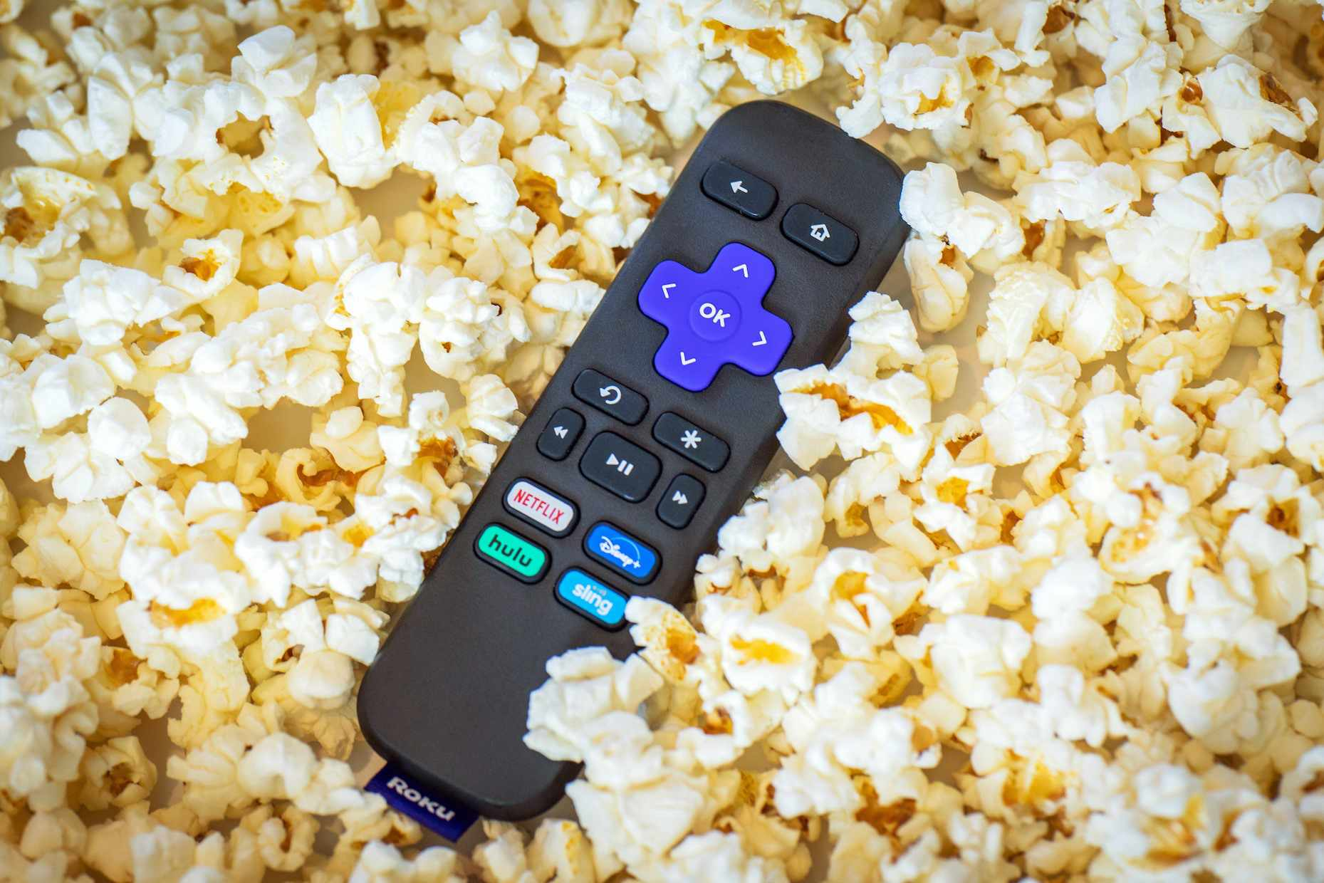 Roku Remote in popcorn